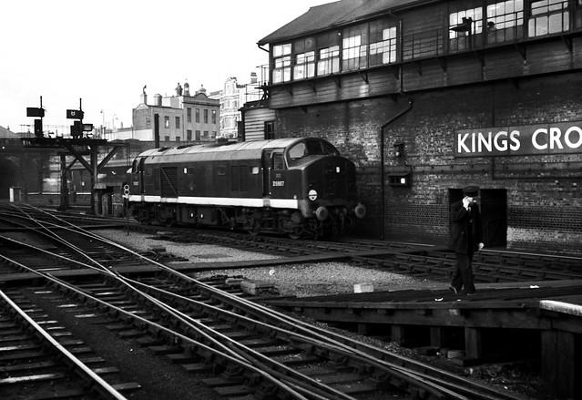 Railways - 'Baby Deltic' No. D5907 outside Kings Cross Signal Box