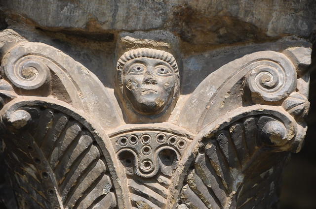 Queralbs. Parish church of St. James. Capital of the porch. 12th. C