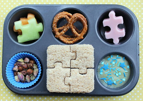 Muffin Tin Monday - puzzle time! April is Autism Awareness Month! | by anotherlunch.com