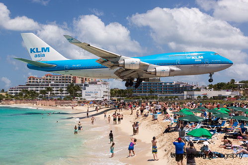 KLM B744 over Maho Beach | by Benny Zheng