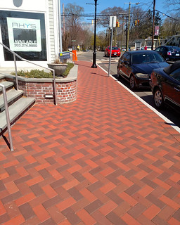 Westport, CT Streetscape 4x8x2.25 Bevel Lug Blend 30 Clear Red, 32 Antique, 33 Dark Antique | by Whitacre Greer