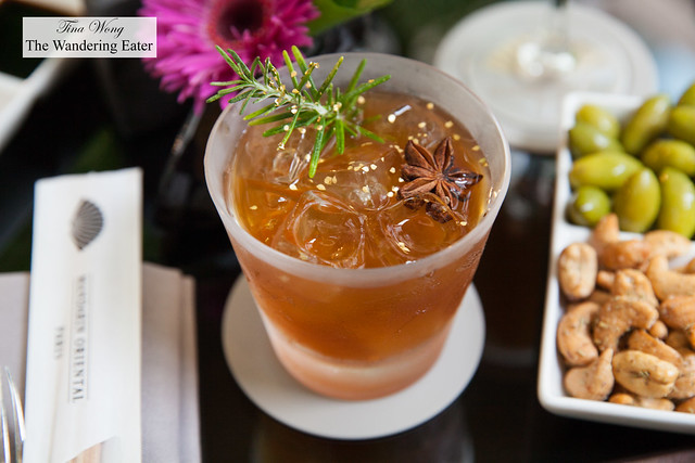 """251 - A """"perfect serve"""" (my spirit of choice was Hennesy XO Cognac) served with a rosemary distillate ice, homemade honey from MO's rooftop hives and cinnamon"""