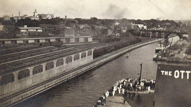 Train with troops leaves Union Station, 1916. Tracks ran along the Canal until mid-1960's.