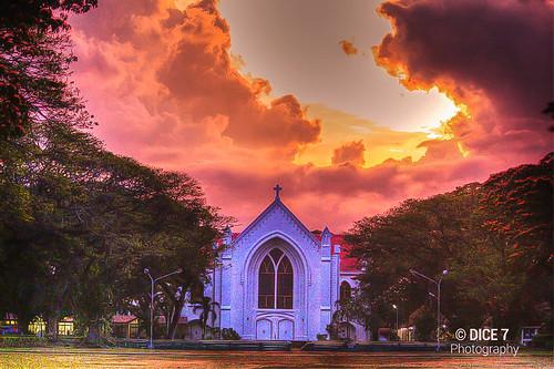 park city sunset red sky orange church photography post philippines iglesia landmark processing dumaguete hdr 1908 negros ampitheatre negrosoriental orientalnegros sillimanuniversity silimanuniversity dice7 sillimanuniversitychurch