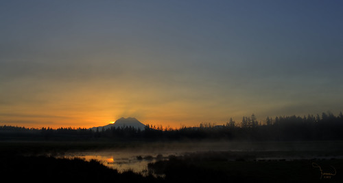 trees sun mist mountains reflection nature water silhouette fog clouds sunrise canon landscape pond mood atmosphere rainier washingtonstate mtrainier t4i 1riverat matthewreichel