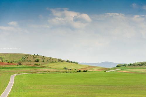 somewhere far away landscape road green grass blue sky greensward mountain hillock hill field cluds trees nature cloudy day macedonia makedonija skopje скопје