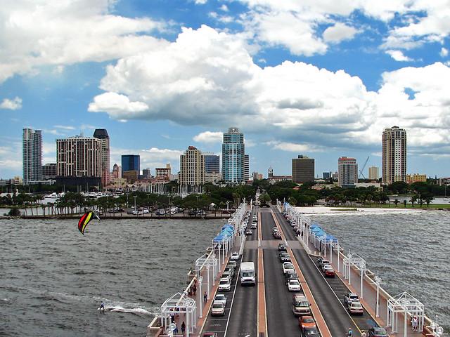 St Petersbug Pier Observation Deck View - Downtown and Kitesurfer