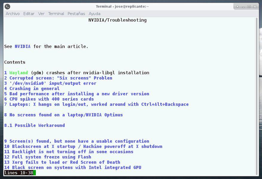 nvidia-wikiarch | Como consultar la wiki de Arch Linux en mo