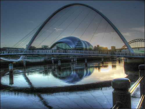 bridge sunset reflection building architecture buildings reflections river newcastle footbridge dusk sunsets tyne millenniumbridge milleniumbridge tyneside hdr newcastleupontyne quayside rivertyne thesage riverscape rnbtyne geordieshore milleniumbridgenewcastleupontynegateshead