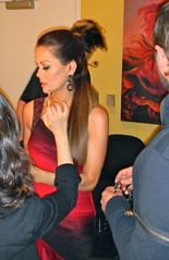 Red & Black Beaded shoulder dress - Brooke Burke - DANCING WITH THE STARS (behind the scenes)