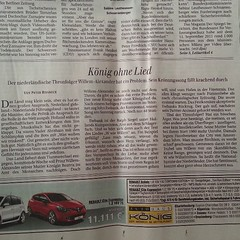 "voorpaginanieuws in Berlijn: ""König ohne Lied""!"