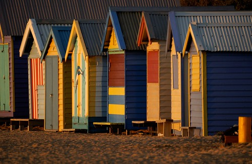 Brighton bathing boxes at sunset, Melbourne | by Joe Lewit