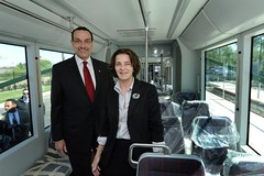 Mayor Vincent C. Gray and Councilmember Mary Cheh on board the streetcar