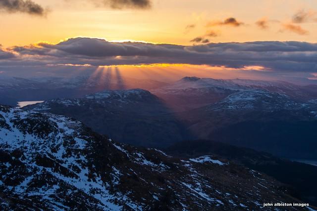 sunrise over the trossachs from the cobbler