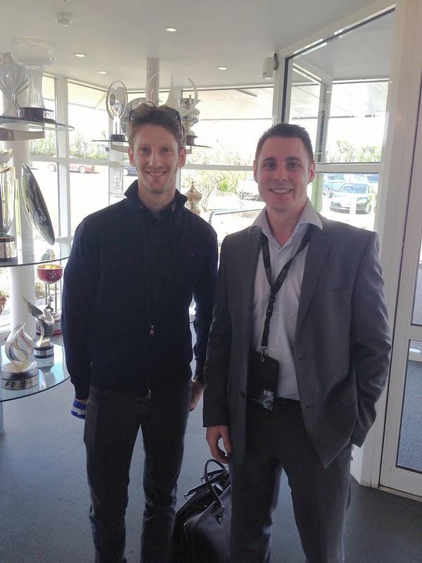 Romain Grosjean at Lotus F1 headquarters.