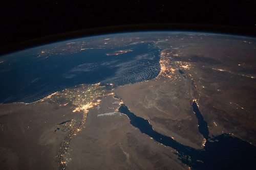 Nighttime view of northern Egypt and the Sinai Peninsula | by NASA Johnson