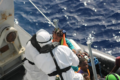 LÉ Samuel Beckett Rescues 220* Migrants During Two Search and Rescue Operations 04 Oct 2016 | by Óglaigh na hÉireann