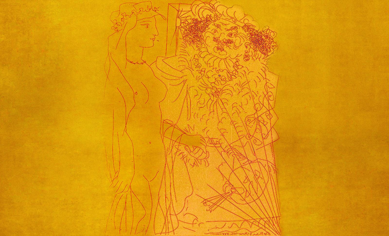 Autoretrato con Saskia, pulsión de Rembrandt Hamenzoon van Rijn (1635), proyección de Pablo Picasso (1963).