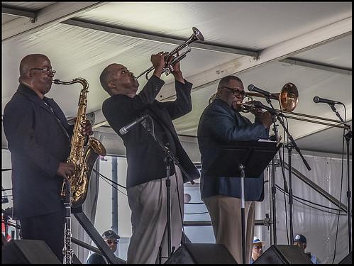 Jamil Sharif  on Day 4 of Jazz Fest - May 3, 2018. Photo by Marc PoKempner.