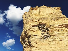 Monument Rocks—mud nests (swallows) on the SIDE!
