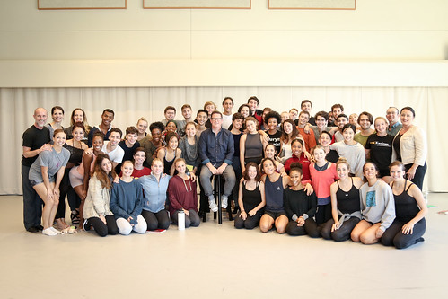 Choreographer Sir Matthew Bourne and Re:Bourne's executive director James Mackenzie-Blackman watch a studio showing and participate in a discussion with BFA students, moderated by Vice Dean Jodie Gates.