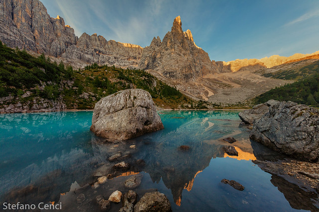 Sunrise on Sorapis lake and Dito di Dio