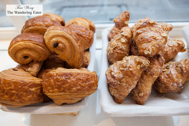 Baskets of beautifully baked chocolate and almond croissants