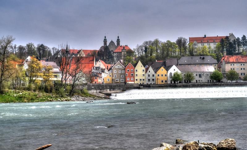Landsberg, Lechwehr, Altstadtkulisse