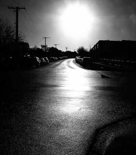 road street autumn bw sun cars wet rain weather silhouette canon mono glare sunny australia monotone victoria vic canonpowershots2is parkedcars canonpowershot gippsland warragul lateafternoonlight auspctagged pc3820 phunnyfotos