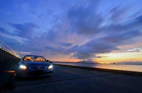 nissan infiniti g37 infinitig37 skyline auto car matsue shinji lakeshinji shimane lakeside sunset dusk d600 1635mm longexposure スカイライン 日産 headlight lighting sanin japan