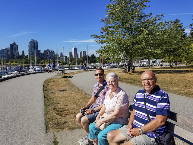 Ross, Mum and Dad waiting on the Stanley Park trolley bus (20160829_105038)