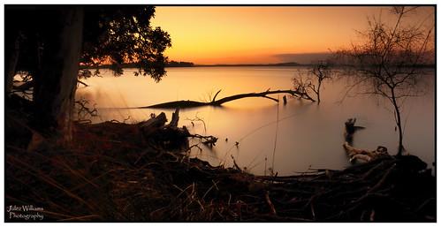 photoborder outdoor serene sunset waterfront shoreline shore newsouthwales australia trees nature longexposure canon 70d