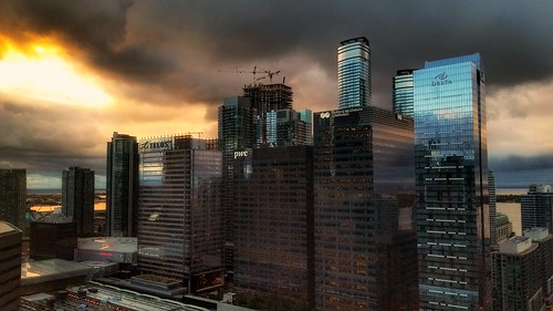 sunrise dawn urban city architecture buildings reflection