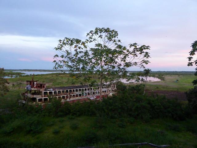 Stranded river boat