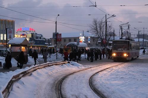 Tatra T6 tram #077 stops for passengers