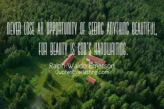 """""""Never lose an opportunity of seeing anything beautiful, for beauty is God's handwriting."""" - Ralph Waldo Emerson 