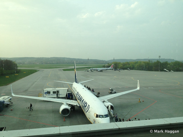 A Ryanair flight from the observation deck at Krakow airport