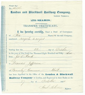London and Blackwall Railway Share Transfer Certificate 1853 | by ian.dinmore