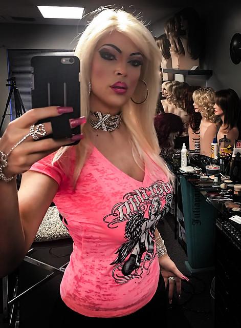 little pink top, selfie