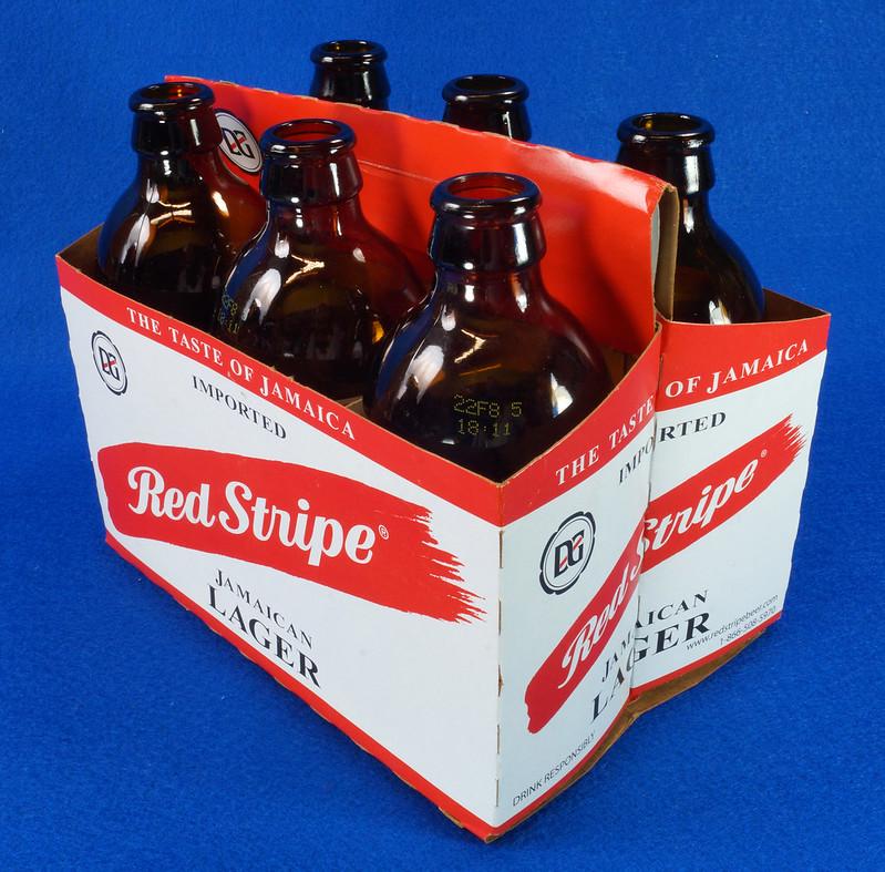 RD14201 6 Red Stripe 12 oz Brown Stubby Beer Bottles in Original 6 Pack Carton DSC05350