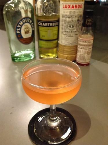 Light and Day (Alex Day) with Plymouth gin, yellow Chartreuse, maraschino liqueur, orange juice, Peychaud's bitters | by *FrogPrincesse*