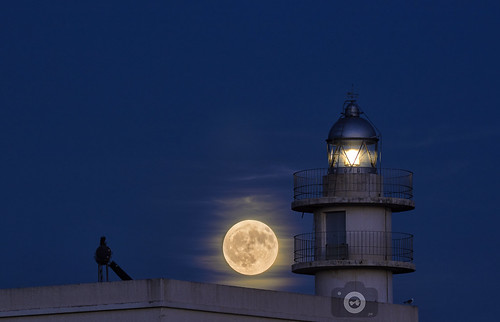 moon lighthouse sea night sky light landscape spain
