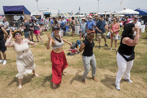 Dancing at Jazz Fest day 5 on May 4, 2018. Photo by Ryan Hodgson-Rigsbee RHRphoto.com