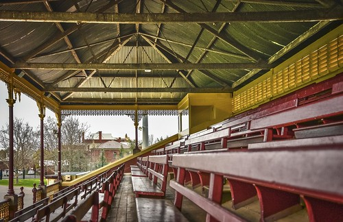 phunnyfotos australia victoria vic bendigo centralvictoria seats emptyseats seat seating kauri timber grandstand spectatorseating architecture interior building 1901 jrrichardson truss trusses view nikon d750 nikond750 corrugatediron castironlace castiron lace lacework tiers tiered louvres mediabox commentarybox bellroof bellshapedroof frieze recreationreserve sportsground football cricket