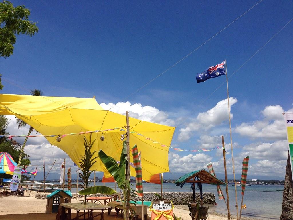 Yellow Tent And Flag At Sunset Beach Resort Samal Davao