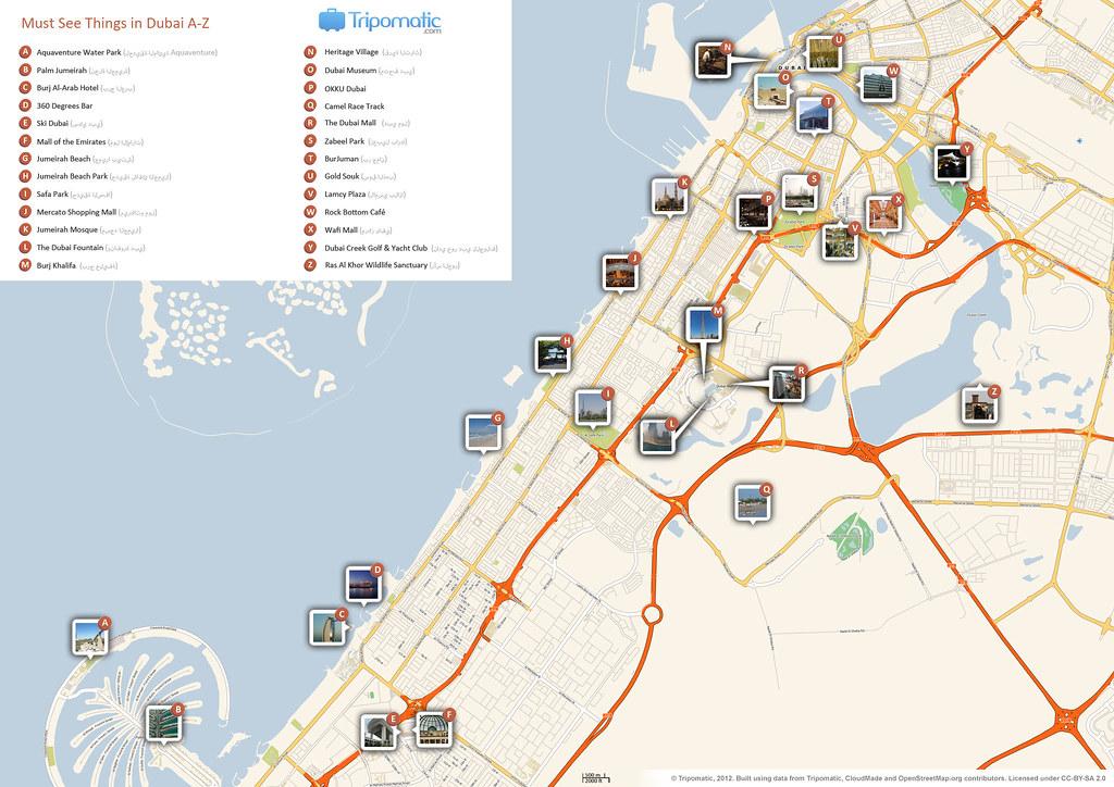 Dubai Map Tourist Attractions on