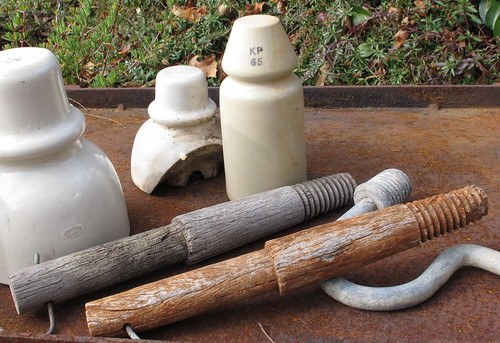 Timber pins and KP 65 insulator from near Zanthus