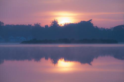 summer fog sunrise reflections haze day cloudy northreading martinspond