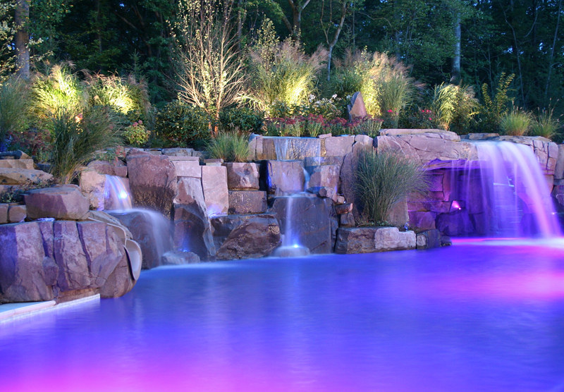 Backyard-fiber-optic-swimming-pool-waterfall-designs-new-j… | Flickr