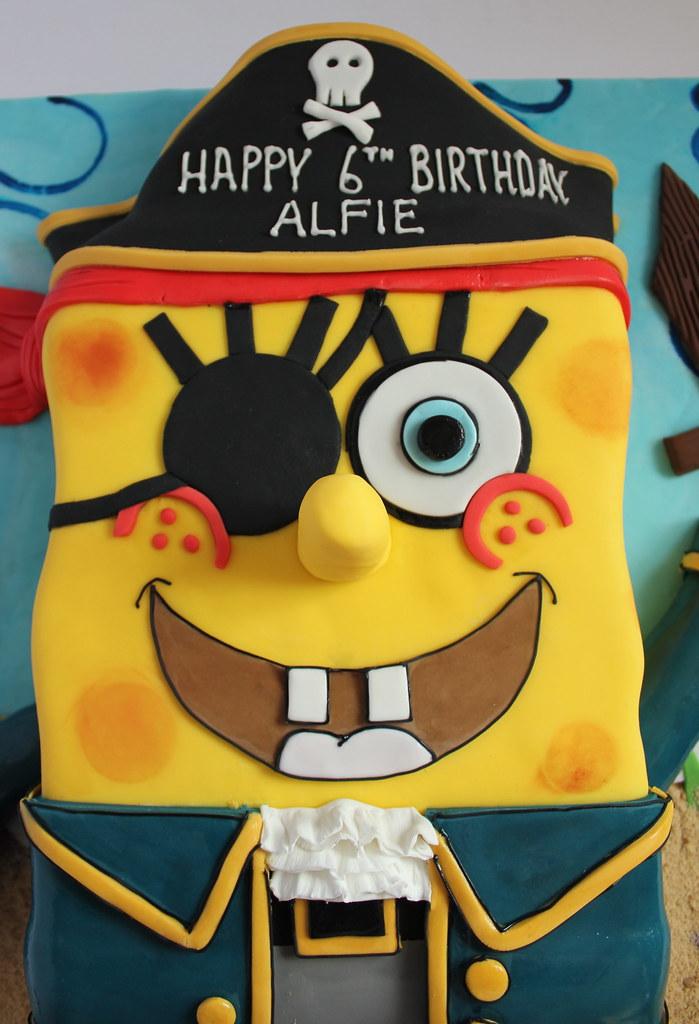 Fabulous Pirate Spongebob Birthday Cake Pauls Creative Cakes Flickr Funny Birthday Cards Online Alyptdamsfinfo